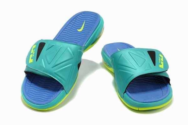Air Lebron 10 X Slide Sandals Turquoise Blue Green6 Nike Lebron James X  Sandals For Men-4, Replica Shoes ...
